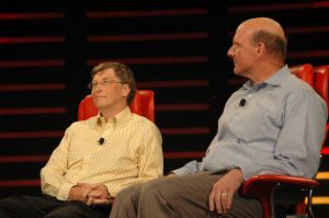 Steve Balmer and Bill Gates on stage