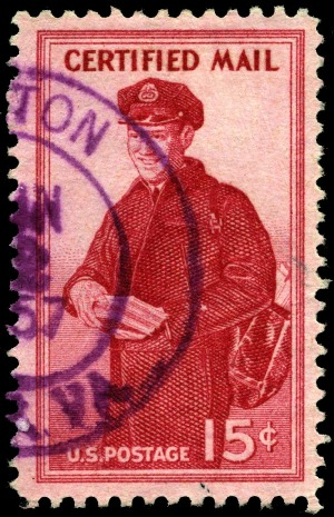 Stamp US 1955 15c certified mail