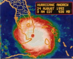 Hurricane Andrew satellite view