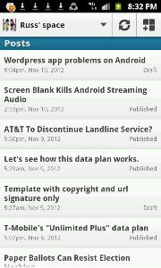 Android WordPress screenshot