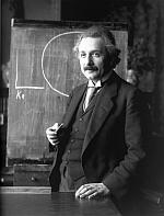 Albert Einstein at blackboard