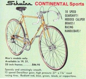 Schwinn Continental bicycle, c 1960