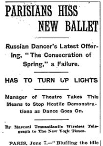 Rite of Spring premiere, 1913