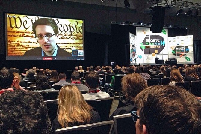 Ed Snowden speaks at SXSW