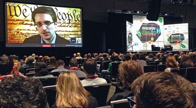 Ed Snowden speaks at SXSW