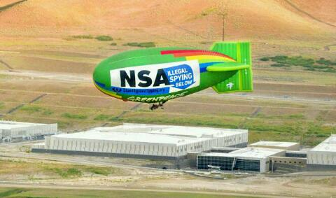 Greenpeace airship over NSA image