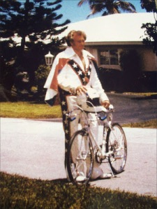 Evel Knievel with bicycle in Fort Lauderdale