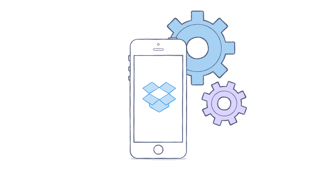 Dropbox logo with gears